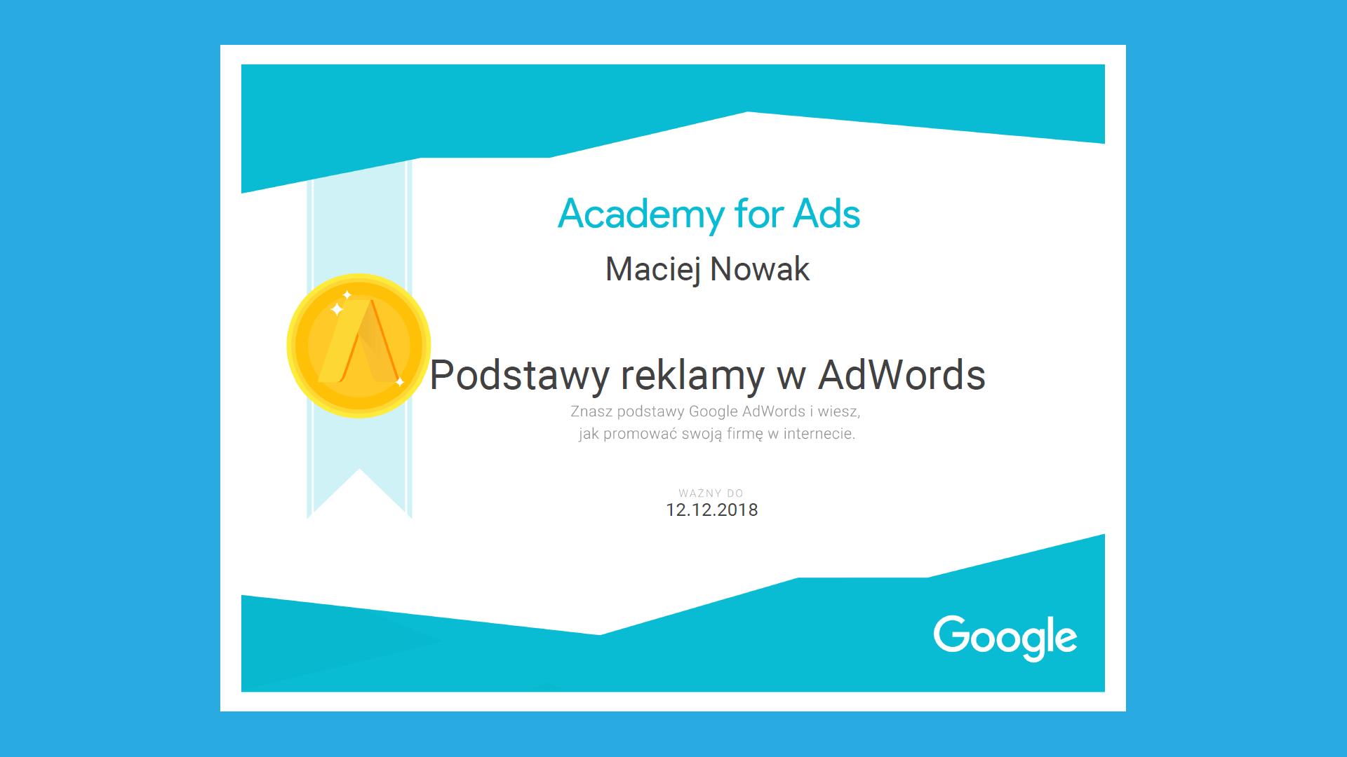 Certyfikat z podstaw reklamy w AdWords