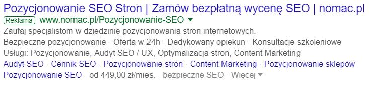 Reklama w wyszukiwarce desktop