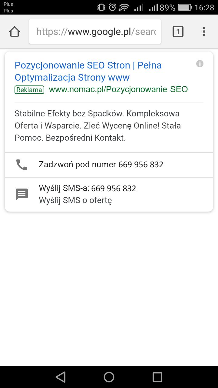 Reklama w wyszukiwarce mobilnej